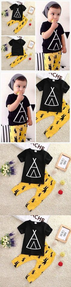 2016 New Kids Clothes Toddle Baby Boys Clothing Set Summer Short Sleeve T-Shirt Top and Pant 2pcs Outfit Children Set