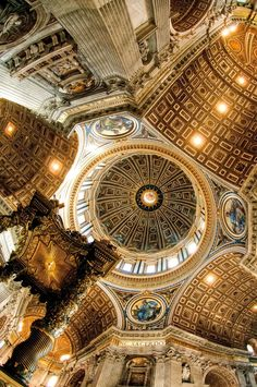 Mosaic ceiling of St Peter's Basilica , Vatican City #ornamentation