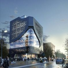 Skyline Tower - Office Building in Oman, Distance Studio Consultant, Designed by: Ahmed Medhat - Office Building Architecture, Building Exterior, Building Facade, Concept Architecture, Futuristic Architecture, Facade Architecture, Amazing Architecture, Building Design, Office Buildings
