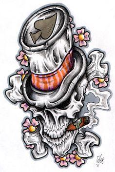 top hat skull by CRAZYGRAFIX.deviantart.com on @deviantART