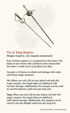 Yin & Yang - Magic rapiers for the dual wielding folks! : UnearthedArcana Note: Home hub Sure, home is where in actuality the heart is. Dnd Dragons, Dungeons And Dragons 5e, Dungeons And Dragons Characters, Dungeons And Dragons Homebrew, Dnd Characters, Dnd Stats, Dnd Stories, Dungeon Master's Guide, Dnd Funny