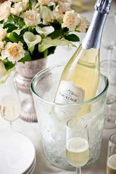 Le Grand Courtage champagne bucket and florals