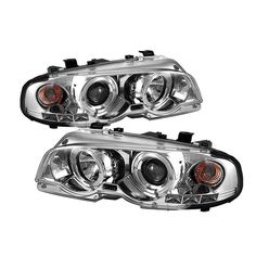 ( Spyder ) BMW E46 3-Series 00-03 2DR / M3 01-06 2DR 1PC Projector Headlights - LED Halo - LED ( Replaceable LEDs ) - Chrome - High H1 (Included) - Low H1 (Included)