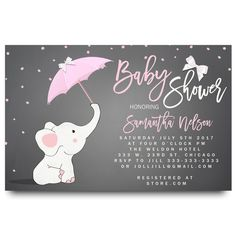 Pink Elephant Baby Shower Invitations Luxury Little Elephant Baby Shower Invitation Printable Baby Shower Invitations, Baby Shower Invites For Girl, Baby Shower Cards, Baby Boy Shower, Baby Girl Elephant, Pink Elephant, Elephant Party, Cartoon Elephant, Baby Chower