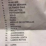 Setlist de Zoe en el Auditorio Telmex | 27 de Febrero