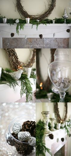 White and Natural Holiday Mantel #Christmas #Decorating from YummyMummyKitchen.com