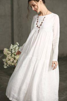 White Dress  Maxi Linen Dress Drop Shoulder Sleeve Dress