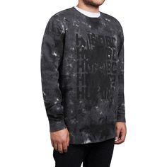 HUF Heren sweater ripple wash crew blk ripple wash.blk zwart - To Be Dressed