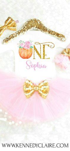 Pumpkin 1st Birthday Outfit Girls Pumpkin First Birthday Outfit Fall First Birthday Thanksgiving Birthday Outfit Pumpkin Tutu Pink and Gold