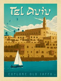 Tel Aviv, Israel - We were inspired by vintage travel prints from the Golden Age of Poster Design (a glorious period spanning the late-1800s to the mid-1900s.) So we set out to create a collection of brand new international prints with a bold and adventurous feel. This print celebrates the coastal beauty of Tel Aviv, Israel.<br />