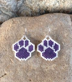 Purple Peyote Beaded Paws by DoubleACreations on Etsy
