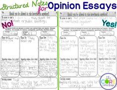 Structured notes for opinion essays using Hover Boards Paired Texts that are differentiated for diverse learners.