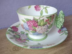 1930's Aynsley china butterfly handle tea cup set...♥♥...  hyndrangea, English tea cup set, bone china tea cup, pink and green tea set on Etsy,