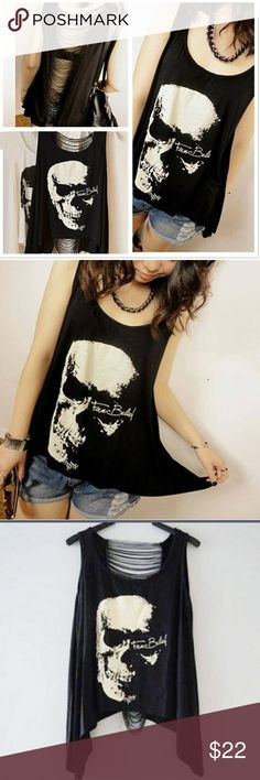 """Skull Punk Tank Top Loving Life, Loving Shopping. Featuring a scooped neckline, sleeveless styling, skeleton print to the front and draped fringe embellishment through the back. In a Punk style, the summer leisure ladies T-shirt. Statement says""""Firm Belief"""" Bust: 35.43"""" Length: 19.68""""-27.55""""  One size fits S-XL Tops Tank Tops"""