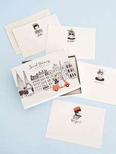 Set of 12 flat cards, with cream envelopes. 3 of each design