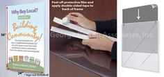 24 x 36 Sign Holder for Wall Mount, Flexible Plastic, with Adhesive Tape - Clear