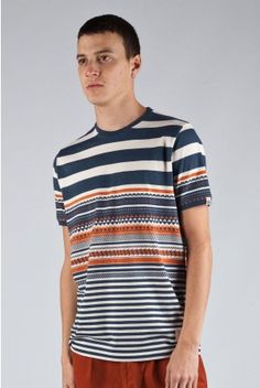 Fly53 Mactic Blue Striped Patterned Tee T Shirt
