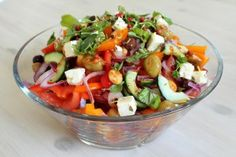 Greek salad my way - Domestic Goddesses Healthy Dishes, Healthy Cooking, Food Dishes, Healthy Recipes, Healthy Foods, My Favorite Food, Favorite Recipes, Domestic Goddess, Greek Salad