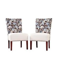 @Overstock - The Duet Emma armless chair is part of the Portfolio Home Collection and features an upholstery in a combination of a printed fabric and cream renu leather. Sold as a set of 2, these chairs are perfect for the living or dining room.http://www.overstock.com/Home-Garden/Portfolio-Duet-Emma-Brown-Modern-Leaf-and-Cream-Renu-Leather-Armless-Chair-Set-of-2/6185161/product.html?CID=214117 $260.99