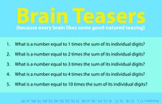 Need a mental pick-me-up? Do a few quick math sprints with this brain teaser.  Share with your kids!