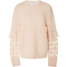 Tanya Taylor     Naomi Fringe Sweater ($395) ❤ liked on Polyvore featuring tops, sweaters, light pink, chunky cable knit sweater, woolen sweater, light pink top, pink cable sweater and wool cable knit sweater