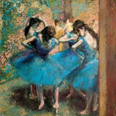 Edgar Degas - Dancers in Blue Famous Art Paintings, Degas Paintings, Dance Paintings, Art Ballet, Ballet Painting, Painting Of Girl, Edgar Degas, Degas Ballerina, Ballerine Degas