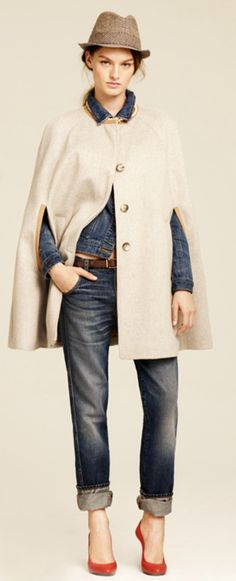 J.Crew Fall - (Love the) cape with jeans and heels