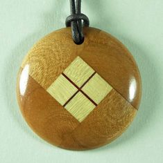 Wood Pendant Necklace Woodturning made of Cherry & Maple