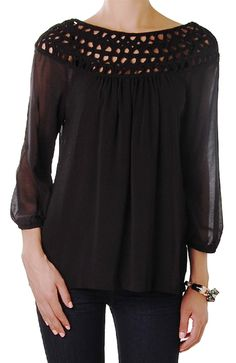 Long Sleeve Crochet Chiffon Top - Zip Back Blouse with Neck Detail