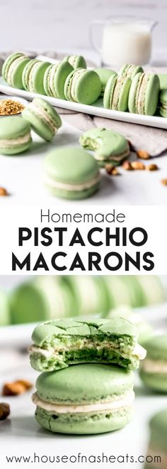 These delightful Pistachio Macarons are filled with pistachio buttercream and remind me of our time in Paris and the famous French macarons we got from Ladurée. Let your tastebuds do the traveling without the jetlag by making these at home! Pistachio Macaron Recipe, Macaron Flavors, Macaroon Recipes, Chocolate Chip Shortbread Cookies, Toffee Cookies, Yummy Cookies, Macaroon Cookies, Chip Cookie Recipe, Cookie Recipes