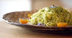 Zucchini Noodles with Avocado Dressing - We may not be able to do the noodles with the special tool but we can definitely make the sauce for salad dressing. Basil and Garlic Scrapes here we come!!