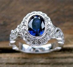 1.8 Ct Oval Cut Solitaire Vintage Blue Stone Engagement Ring 14K White Gold Over #RegaaliaJewels #EngagementRing