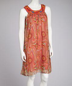 Loving this Coral Swirl Shift Dress on #zulily! #zulilyfinds