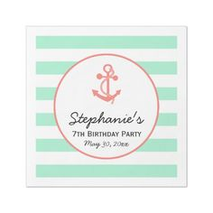 Mint Green Stripes with Coral Pink Anchor Birthday Paper Dinner Napkin