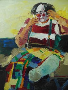 """SMOKING CLOWN Oil on canvas by ROLAND ROY Listed Artist Fun Art!! 30"""" x24"""" #OutsiderArt"""