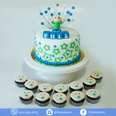Baby Boy Christening Themed Cake and Cupcakes Baby Boy Christening, Christening Cakes, Cupcake Cakes, Cupcakes, Themed Cakes, Birthday Cake, Desserts, Food, Baptism Cakes