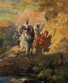 Adolf Schreyer (1828-1899), Cavaliers arabes, huile sur panneau, 64,5 x 53 cm. Estimation : 20 000/25 000 €. Jeudi 26 février, salle 9 - Drouot-Richelieu. Kalck & Associés SVV. Cabinet Perazzone - Brun.
