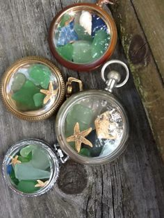 vintage watches filled with seaglass