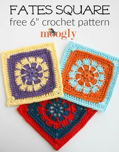 """Fates Square - FREE 6"""" crochet block pattern on Mooglyblog.com! Make this square with Lion Brand 24/7 Cotton and a size G (4mm) crochet hook."""