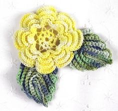 crocheted yellow irish rose w/ leaves