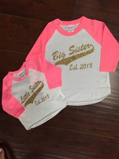 53b11f2051b3 Baseball Raglan Shirt Big Siset Little Sister by sunsetsigndesigns Big  Sister Little Sister, Lil Sis