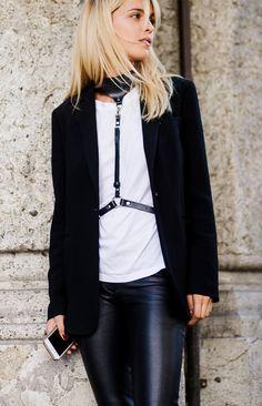 Black blazer + white t-shirt + black harness + leather pants
