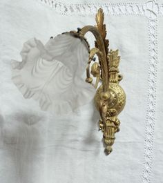 DIVINE ANTIQUE FRENCH VICTORIAN SOLID BRONZE WALL SCONCE STYLE LOUIS XVI C1900
