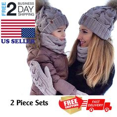 c79df250b42fb 2PCS Mother&Baby Hat Parent-Child Hat Family Cap Winter Warmer Knit  Wool Beanie