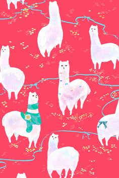 Bright pink pattern llama white repeating motif teal scarf turquoise bows cute feminine design