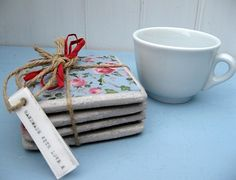 Gift ideas from www.littlewrengifts.co.uk vintage style ceramic coaster which have been handmade in UK