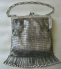 Antiques Antique Art Deco Two Tone Silver Frame 20 Brass Ball Drop Tassel Mesh Purse