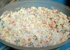 Hagyományos francia saláta Hungarian Cuisine, Hungarian Recipes, Cold Dishes, Veg Dishes, Coleslaw, Ital Food, Deviled Eggs Recipe, Food Humor, Vegetarian Food