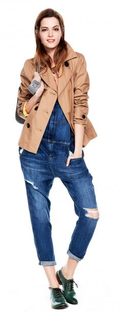 Current Classics  Denim overalls get the grown-up treatment styled with a cropped trench jacket.
