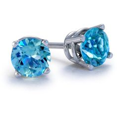 Blue Nile Blue Topaz Stud Earrings in 18k White Gold (5mm) ($150) ❤ liked on Polyvore